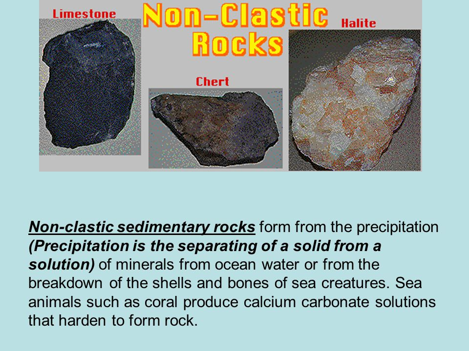 Non-clastic sedimentary rocks form from the precipitation (Precipitation is the separating of a solid from a solution) of minerals from ocean water or from the breakdown of the shells and bones of sea creatures.