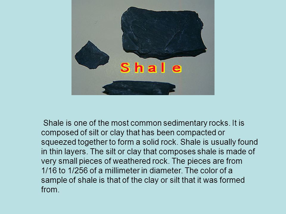 Shale is one of the most common sedimentary rocks.