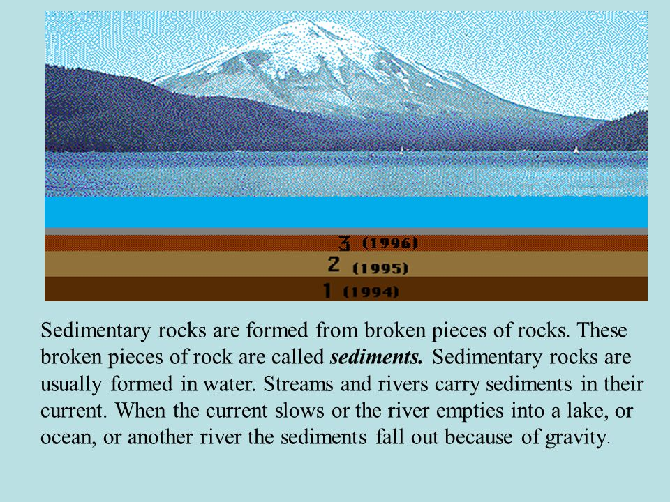 Sedimentary rocks are formed from broken pieces of rocks.
