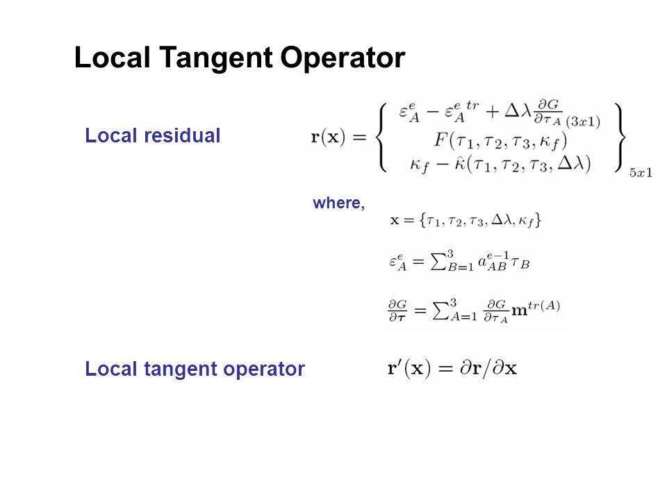 Local Tangent Operator Local tangent operator Local residual where,