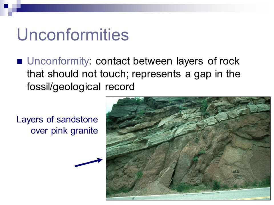 Unconformities Unconformity: contact between layers of rock that should not touch; represents a gap in the fossil/geological record Layers of sandston