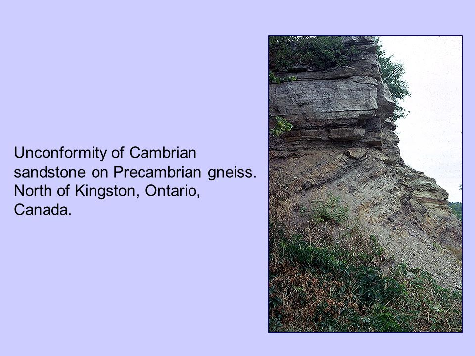Unconformity of Cambrian sandstone on Precambrian gneiss. North of Kingston, Ontario, Canada.