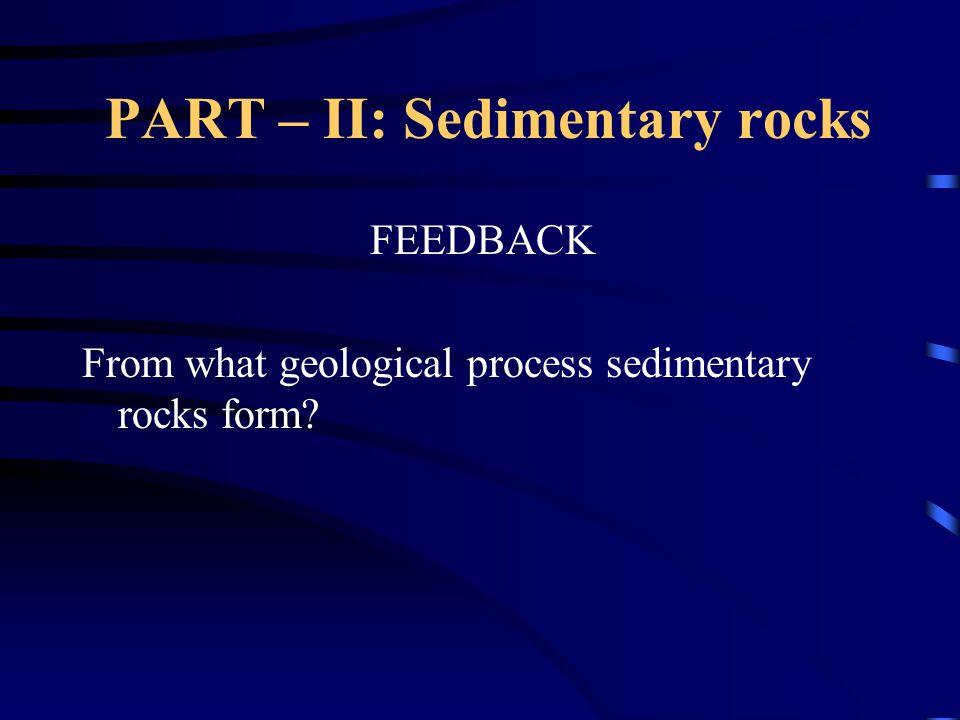 PART – II: Sedimentary rocks FEEDBACK From what geological process sedimentary rocks form