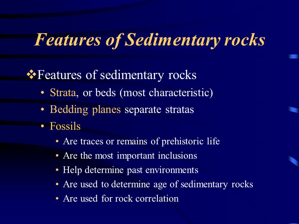 Features of Sedimentary rocks  Features of sedimentary rocks Strata, or beds (most characteristic) Bedding planes separate stratas Fossils Are traces or remains of prehistoric life Are the most important inclusions Help determine past environments Are used to determine age of sedimentary rocks Are used for rock correlation