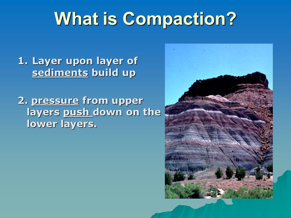 What is Compaction? 1.Layer upon layer of sediments build up 2. pressure from upper layers push down on the lower layers.