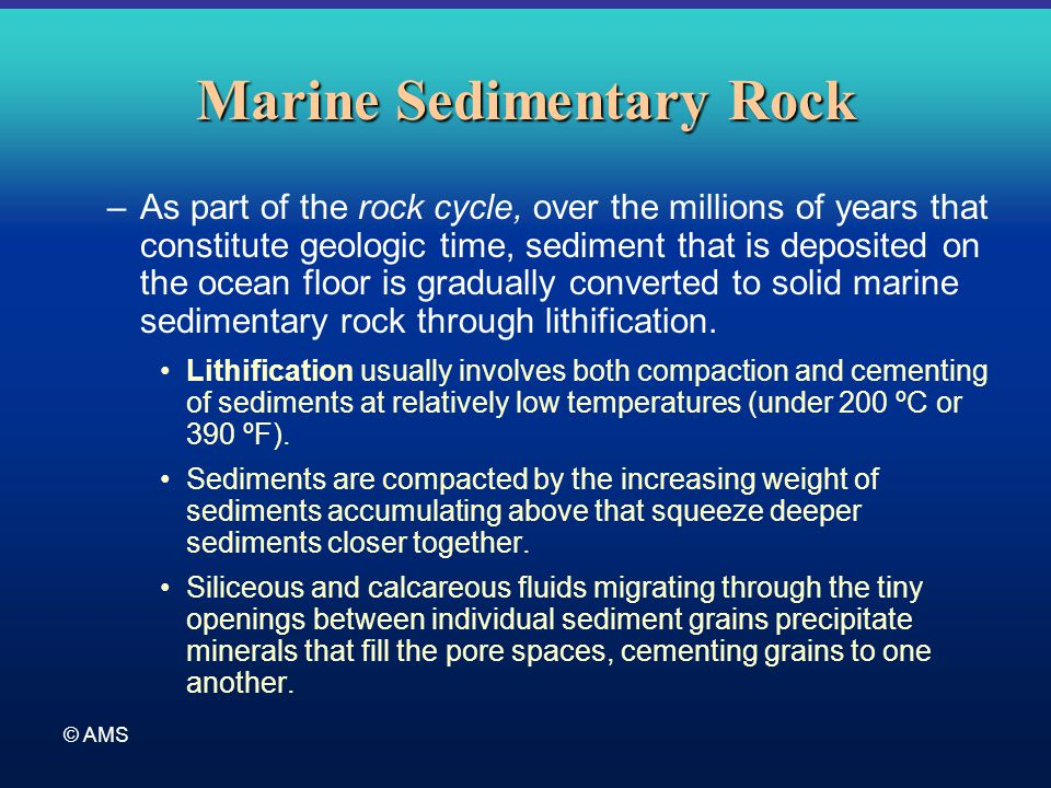© AMS Marine Sedimentary Rock –As part of the rock cycle, over the millions of years that constitute geologic time, sediment that is deposited on the