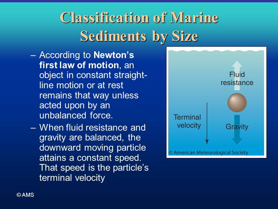 © AMS Classification of Marine Sediments by Size –According to Newton's first law of motion, an object in constant straight- line motion or at rest re