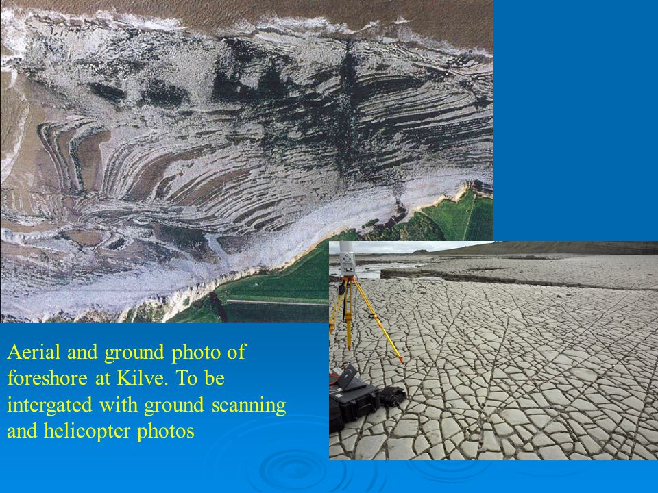 Aerial and ground photo of foreshore at Kilve. To be intergated with ground scanning and helicopter photos