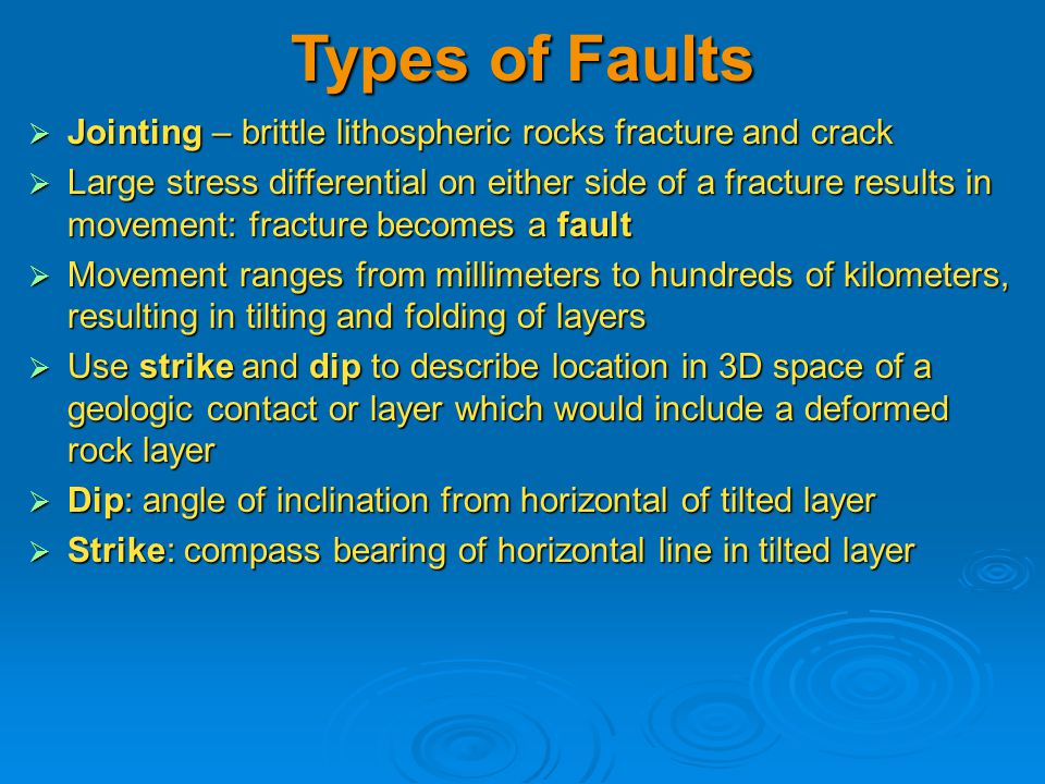 Types of Faults  Jointing – brittle lithospheric rocks fracture and crack  Large stress differential on either side of a fracture results in movement: fracture becomes a fault  Movement ranges from millimeters to hundreds of kilometers, resulting in tilting and folding of layers  Use strike and dip to describe location in 3D space of a geologic contact or layer which would include a deformed rock layer  Dip: angle of inclination from horizontal of tilted layer  Strike: compass bearing of horizontal line in tilted layer