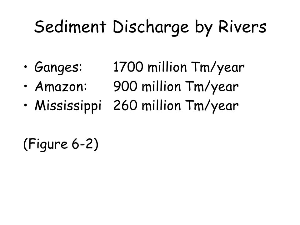 Sediment Discharge by Rivers Ganges:1700 million Tm/year Amazon:900 million Tm/year Mississippi260 million Tm/year (Figure 6-2)