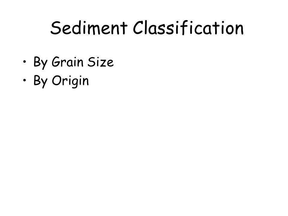 Sediment Classification Grain Size –Clay <4 μm –Silt 4-62 μm –Sand62-2000 μm –Gravel>2000 μm
