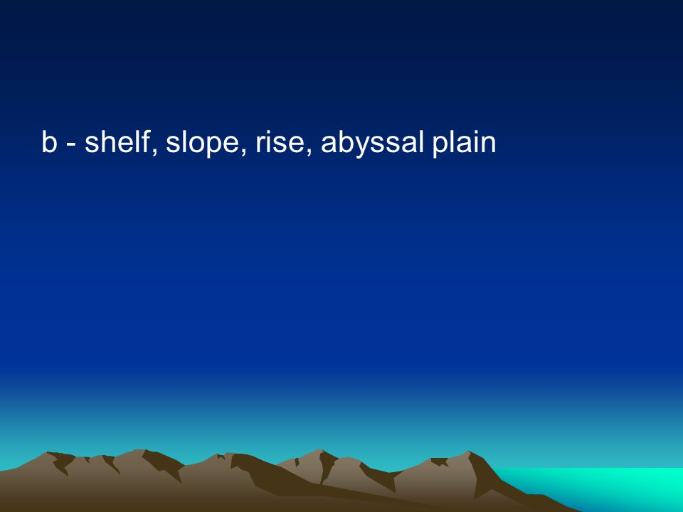 b - shelf, slope, rise, abyssal plain