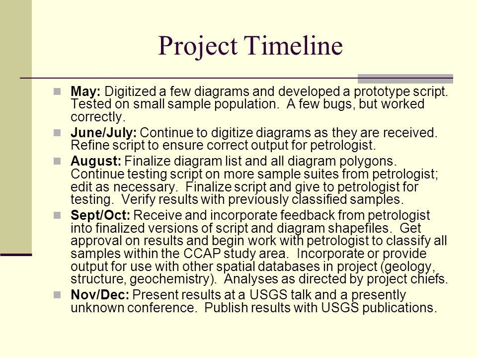 Project Timeline May: Digitized a few diagrams and developed a prototype script. Tested on small sample population. A few bugs, but worked correctly.