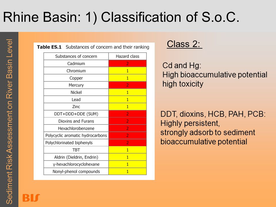 Sediment Risk Assessment on River Basin Level Rhine Basin: 1) Classification of S.o.C.