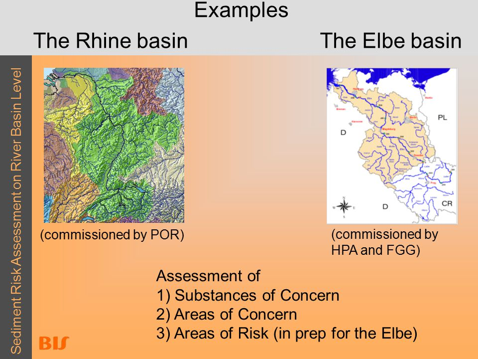 Sediment Risk Assessment on River Basin Level Examples The Rhine basinThe Elbe basin Assessment of 1) Substances of Concern 2) Areas of Concern 3) Areas of Risk (in prep for the Elbe) (commissioned by POR) (commissioned by HPA and FGG)