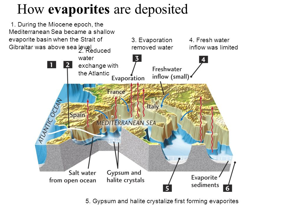 How evaporites are deposited 1.