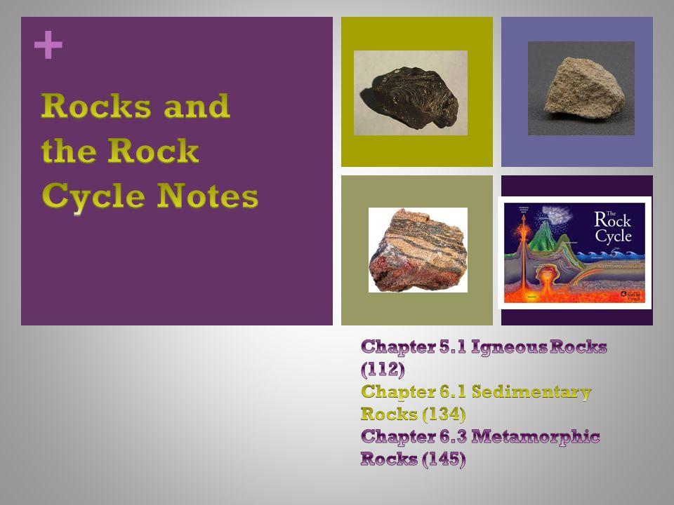 + Three types of Rocks 1. Igneous 2. Sedimentary 3. Metamorphic