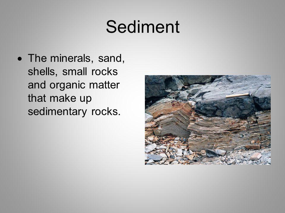 Sediment  The minerals, sand, shells, small rocks and organic matter that make up sedimentary rocks.