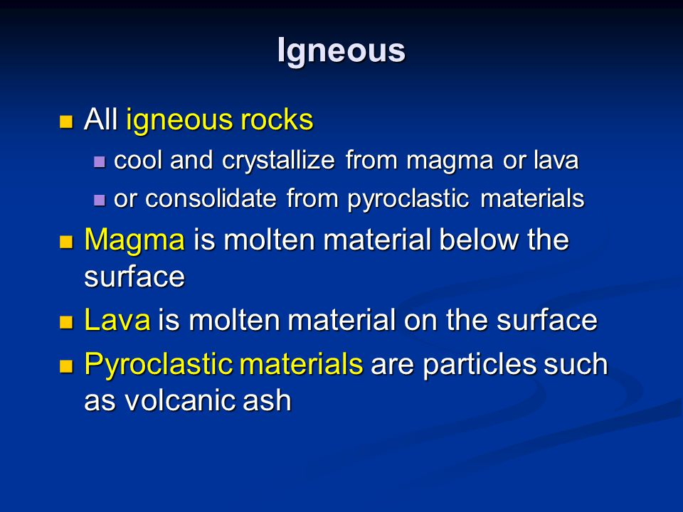 Metamorphic Changes in minerals, texture, and/or chemical composition of a rock that result from changes in temperature and pressure … like burial, contact with hot stuff, extreme crunching … Changes in minerals, texture, and/or chemical composition of a rock that result from changes in temperature and pressure … like burial, contact with hot stuff, extreme crunching … No melting.