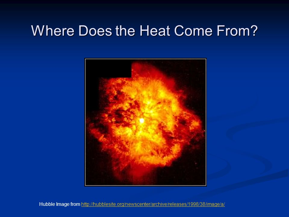 Where Does the Heat Come From? Hubble Image from http://hubblesite.org/newscenter/archive/releases/1998/38/image/a/http://hubblesite.org/newscenter/ar