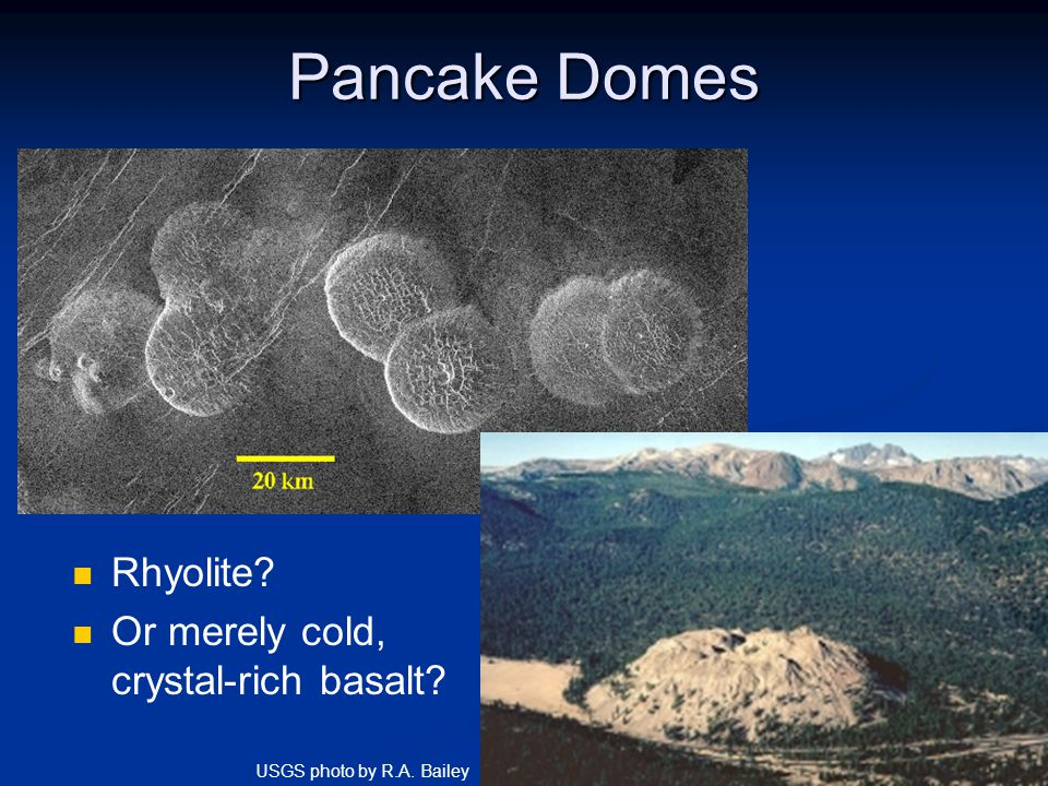Pancake Domes Rhyolite? Or merely cold, crystal-rich basalt? What kind of volcano? What kind of lava? USGS photo by R.A. Bailey