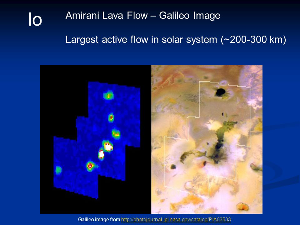 Io Amirani Lava Flow – Galileo Image Largest active flow in solar system (~200-300 km) Galileo image from http://photojournal.jpl.nasa.gov/catalog/PIA