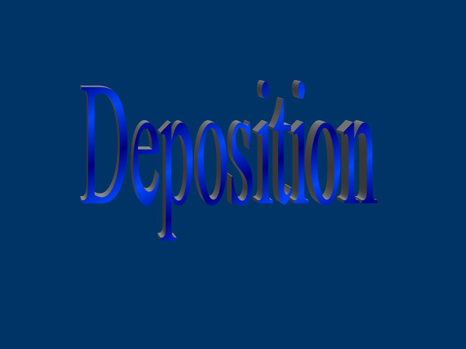 Deposition: the dropping of transported materials (sediments), or the process by which transported materials are left in new locations.