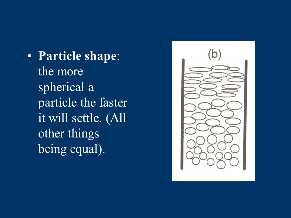 Density: materials with a higher density will settle faster. (All other things being equal).