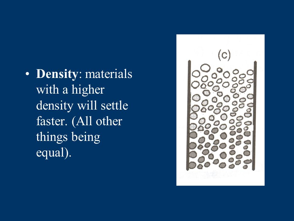 Deposition of mixed sediments When mixed sediments are released into a column the roundest most dense materials will settle first.