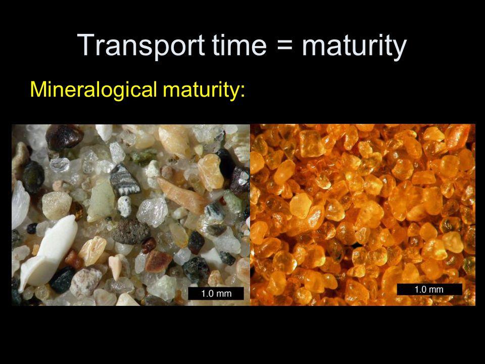 Transport time = maturity Mineralogical maturity:
