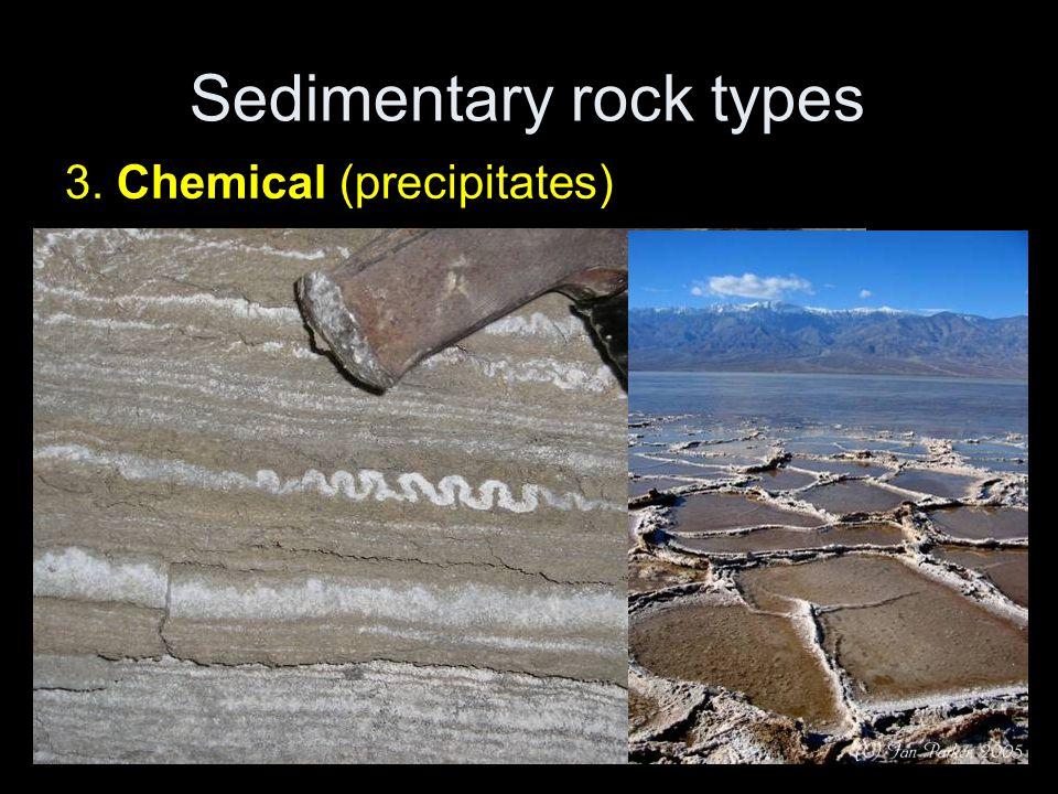 Sedimentary rock types 3. Chemical (precipitates)