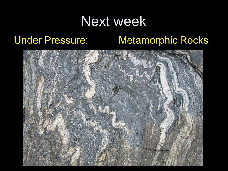 Next week Under Pressure:Metamorphic Rocks
