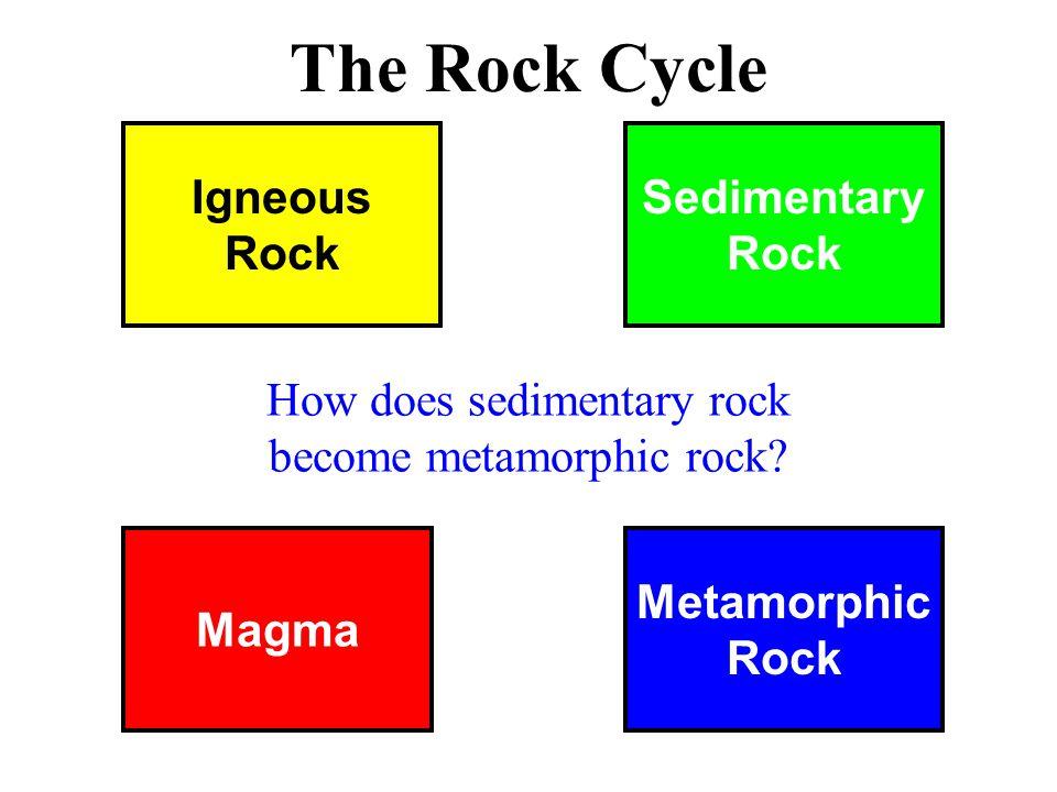 Magma Metamorphic Rock Igneous Rock Sedimentary Rock The Rock Cycle How does sedimentary rock become metamorphic rock