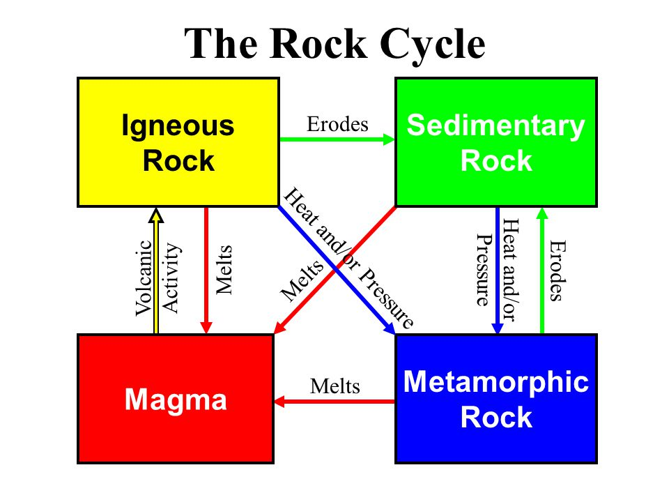 Magma Metamorphic Rock Igneous Rock Sedimentary Rock The Rock Cycle Erodes Melts Erodes Melts Volcanic Activity Heat and/or Pressure Heat and/or Pressure