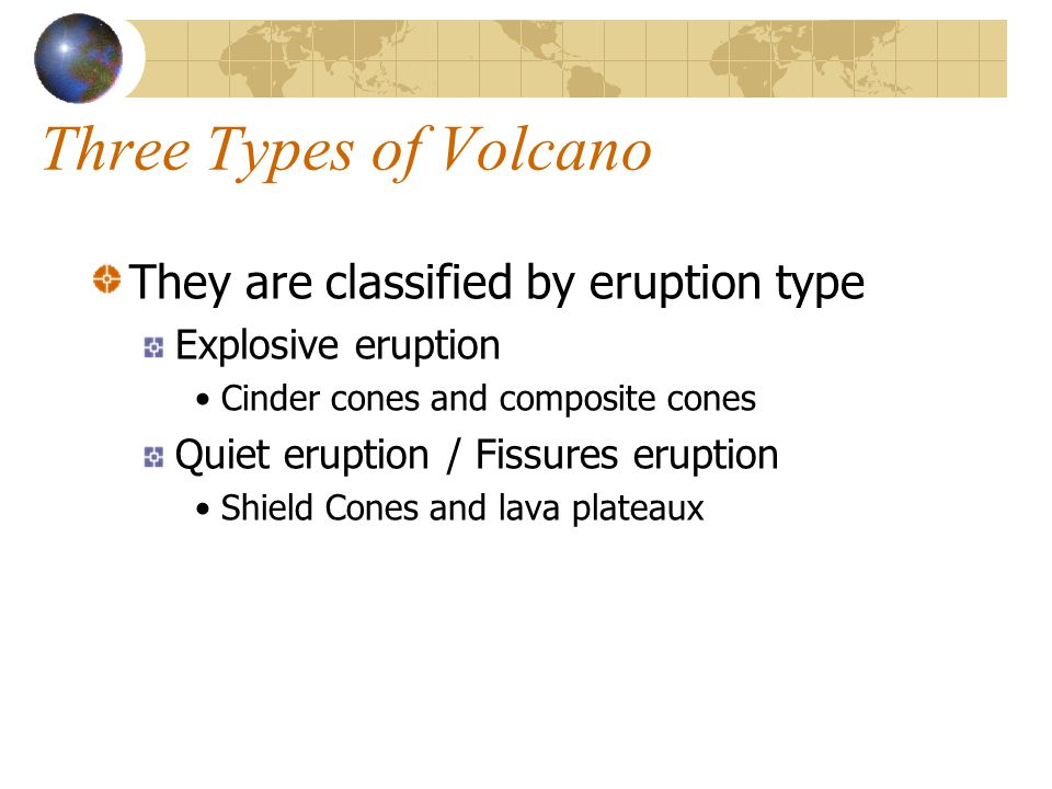 Three Types of Volcano They are classified by eruption type Explosive eruption Cinder cones and composite cones Quiet eruption / Fissures eruption Shi