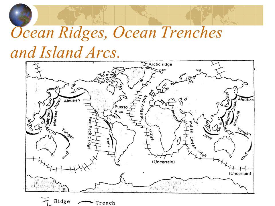 Ocean Ridges, Ocean Trenches and Island Arcs.