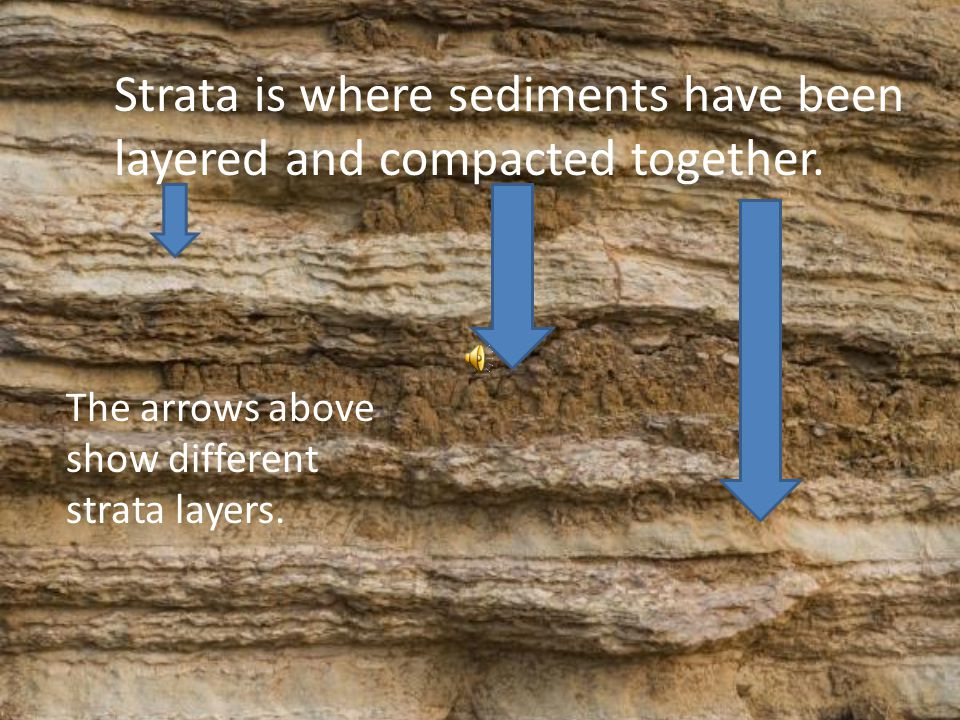 Sediments are carried down stream Sediments then pile up and are cemented together underneath Earth's surface. Stratification is where sediments fall