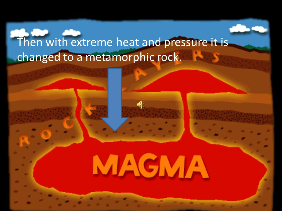 Then over thousands of years it gets close to a magma chamber.