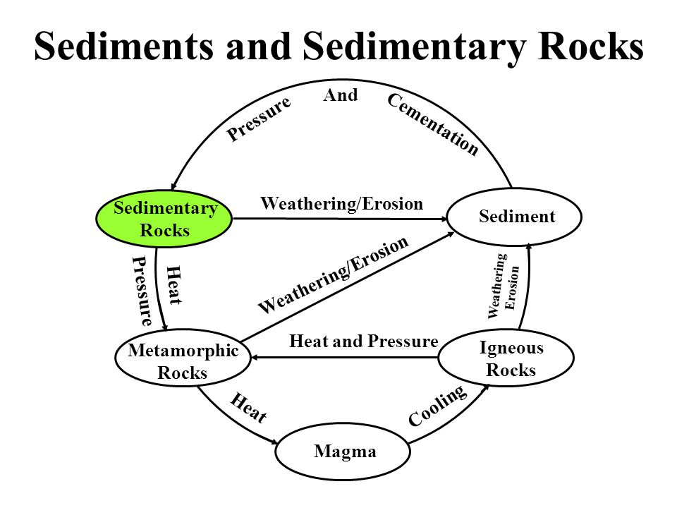 Sedimentary Rocks Igneous Rocks Metamorphic Rocks Magma Sediment Pressure And Cementation Weathering/Erosion Heat and Pressure Cooling Heat Pressure Weathering Erosion