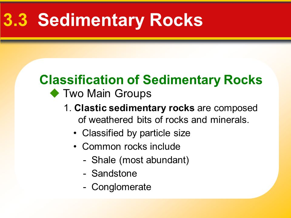 Classification of Sedimentary Rocks 3.3 Sedimentary Rocks 1. Clastic sedimentary rocks are composed of weathered bits of rocks and minerals. Classifie