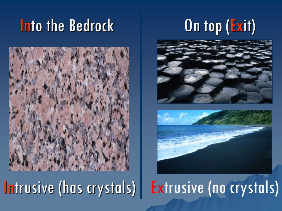 Intrusive (has crystals) Extrusive (no crystals) Into the Bedrock On top (Exit)