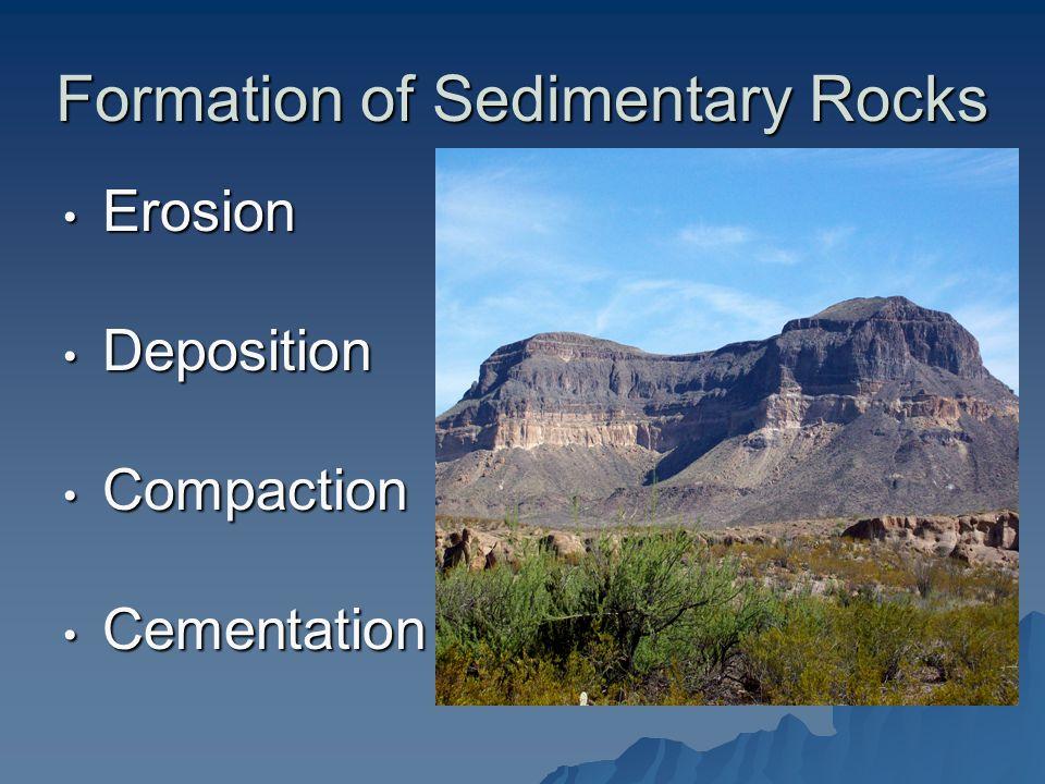 Formation of Sedimentary Rocks Erosion Erosion Deposition Deposition Compaction Compaction Cementation Cementation