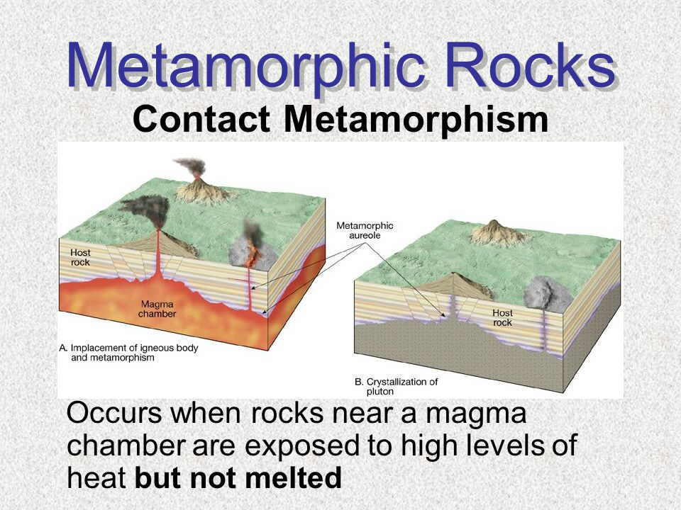 Metamorphic Rocks Contact Metamorphism Occurs when rocks near a magma chamber are exposed to high levels of heat but not melted