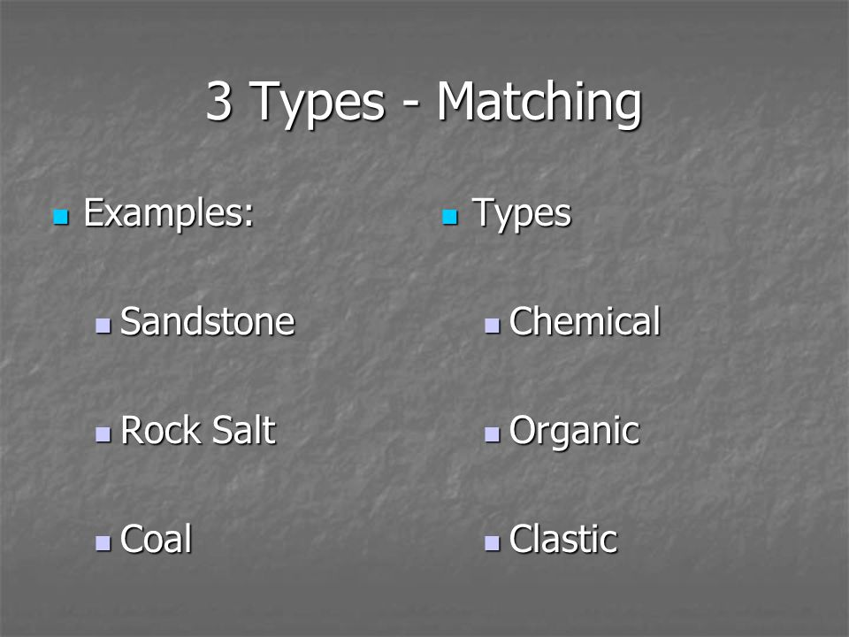 3 Types - Defined Clastic Clastic Fragments from other rocks, moved, depositied Fragments from other rocks, moved, depositied Chemical Chemical Water evaporates, minerals (crystals) precipitate Water evaporates, minerals (crystals) precipitate Organic Organic Remains of living things Remains of living things