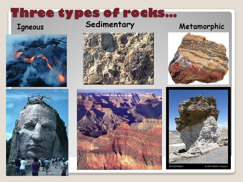 Three types of rocks… Igneous Metamorphic Sedimentary
