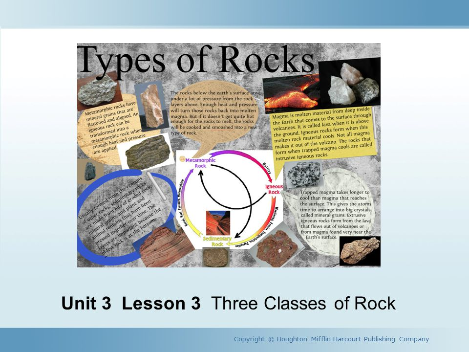A Rocky World Copyright © Houghton Mifflin Harcourt Publishing Company How are rocks classified.