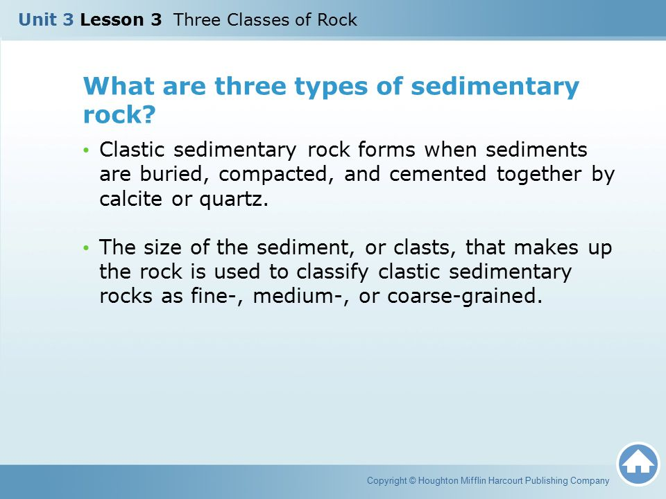 What are three types of sedimentary rock? Clastic sedimentary rock forms when sediments are buried, compacted, and cemented together by calcite or qua