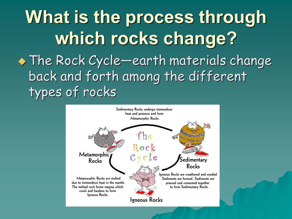 What is the process through which rocks change?  The Rock Cycle—earth materials change back and forth among the different types of rocks