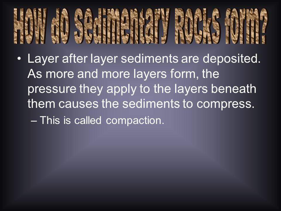 Under certain conditions deposited sediments recombine to form a solid rock.