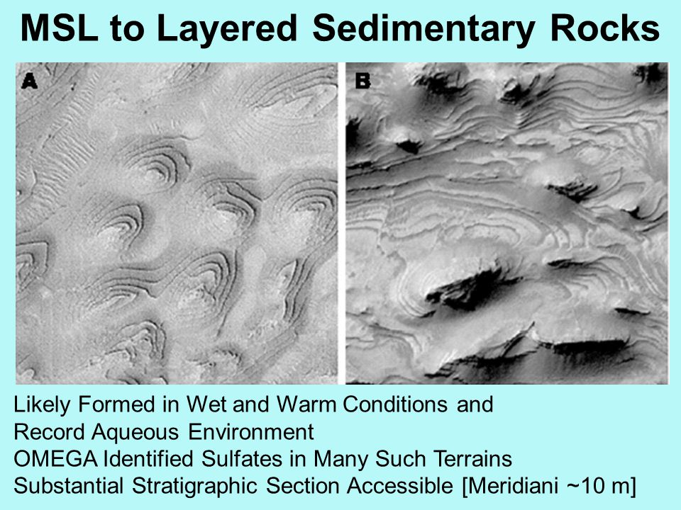 MSL to Layered Sedimentary Rocks Likely Formed in Wet and Warm Conditions and Record Aqueous Environment OMEGA Identified Sulfates in Many Such Terrai